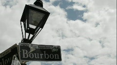 Time lapse shot of Bourbon Street sign in New Orleans, Louisiana. - stock footage