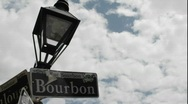 Time lapse shot of Bourbon Street sign in New Orleans, Louisiana. Stock Footage