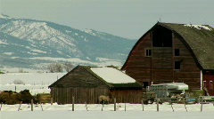 24p RED BARN WINTER CU - stock footage