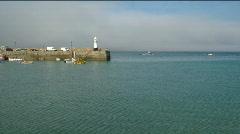 St Ives pier sea mist Stock Footage