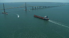 Aerial Tanker Approach Sunshine Skyway 3 Stock Footage