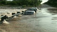 Car flooding wideshot Stock Footage