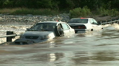 Two cars flood tight Stock Footage