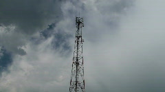 Telecommunication pole in time-lapse clouds  Stock Footage