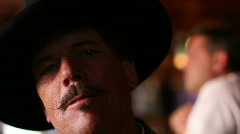 Doc Holliday - 2 - historical character - scenes - 2 - light under the hat brim Stock Footage