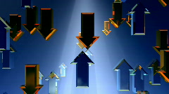 Arrows orange and blue with volume caustics, alpha channel included - stock footage