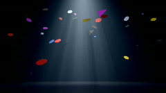 Colorful confetti falling with volume light, alpha channel included Stock Footage