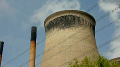Coal fired power station cooling towers. Yorkshire England UK - stock footage