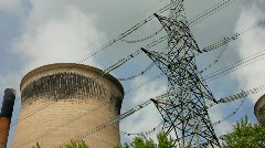 Coal fired power station cooling towers and pylon tower. Yorkshire England UK Stock Footage