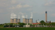 Stock Video Footage of Coal fired power station cooling towers. Yorkshire England UK