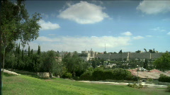 Jerusalem landscap - walls of the old city - stock footage