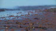 Stock Video Footage of Red pebbles and waves 1