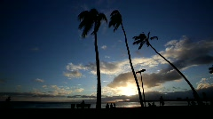 Hawaii Magic Island Sunset 1 Stock Footage