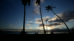 Hawaii Magic Island Sunset 2 Stock Footage