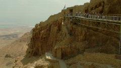 Masada aerial tramway 4 Stock Footage