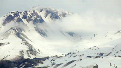 Mount St. Helens Crater Covered in Snow, Washington Stock Footage