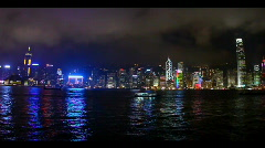 Hong Kong Skyline at Night - stock footage