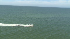 Aerial Cabin Cruiser Moving Fast Stop Stock Footage