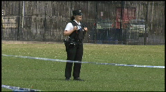 PSNI Police woman guarding a crimescene Stock Footage