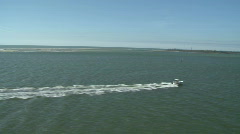 Aerial Small Fishing Boat Fun Stock Footage