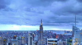 New York City Skyline Time Lapse Aerial View, Illuminated Empire State Building Footage