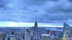 New York City Skyline Time Lapse Aerial View, Illuminated Empire State Building - stock footage