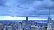 New York City Skyline Time Lapse Aerial View, Illuminated Empire State Building Stock Footage