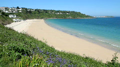 Carbis Bay sandy beach in Cornwall UK. Stock Footage