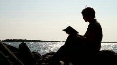 Woman Bible Reading Silhouette Stock Footage