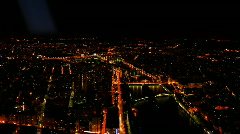 Illuminated Paris Skyline Time Lapse Aerial Cityscape, Boats Seine River night Stock Footage