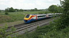 A Meridian passenger train on the Midland line passing through Northamptonshire - stock footage