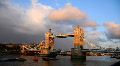 London Skyline Time Lapse, Famous Tower Bridge, Thames River sunset, Red Clouds Footage