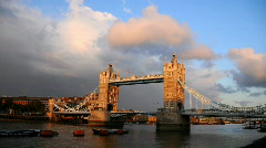 London Skyline Time Lapse, Famous Tower Bridge, Thames River sunset, Red Clouds Stock Footage
