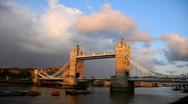 Stock Video Footage of London Skyline Time Lapse, Famous Tower Bridge, Thames River sunset, Red Clouds
