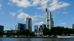 Frankfurt am Main Skyline Time lapse Germany Cityscape, Skyscrapers, Main river - stock footage