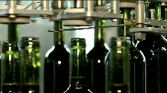 Factory for wine production - Bottles on the bar for filling wine Stock Footage
