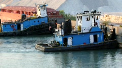 Two Tugboats in Calument River in Chicago, IL Stock Footage