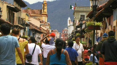 San cristobal street busy flag1 Stock Footage