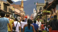 San cristobal street busy flag1 Stock Footage