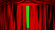 Red curtain with green screen Stock Footage