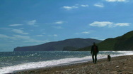 A man walks his dog at sea Stock Footage