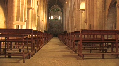 Interior of Poblet Monastery in Spain Stock Footage