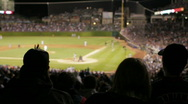 Crowd cheers at baseball game, silhouette Stock Footage