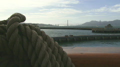 Golden Gate Bridge with Sailing Rope in Foreground Stock Footage