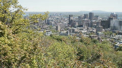 Montreal Skyline Panning Shot From Mount Royal Stock Footage