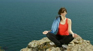 Woman is engaged in yoga Stock Footage