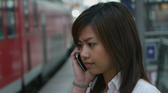Stock Video Footage of Young Asian Business Woman Using Mobile Phone