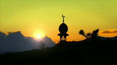 Silhouette of Mosque with Crescent Stock Footage