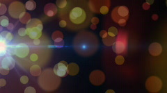 Beautiful lens bokeh with blue flare, seamless loop Stock Footage