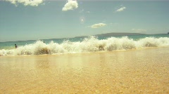Surf crashing over POV camera on beach, #2 Stock Footage